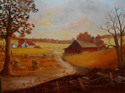 Shock Painting - Pumpkins In The Fall by Darlene Prowell