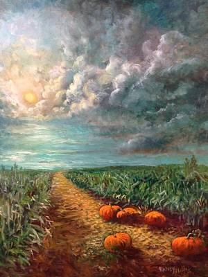 Painting - Pumpkins In The Moonlight by Randy Burns