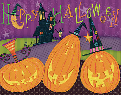 Haunted House Painting - Pumpkins Night Out - Happy Halloween by Pela Studio