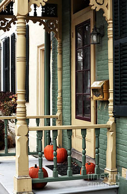 Old School House Photograph - Pumpkins On The Porch by John Rizzuto