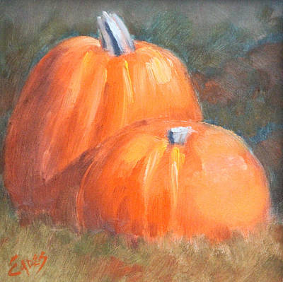 Painting - Pumpkins815142 by Linda Eades Blackburn