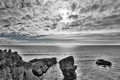 Photograph - Punakaiki Pancake Rocks #3 - Black And White by Stuart Litoff
