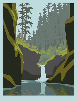 Northwest Digital Art - Punch Bowl Falls by Mitch Frey