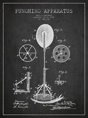 Punching Drawing - Punching Apparatus Patent Drawing From1895 by Aged Pixel