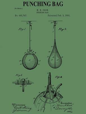 Digital Art - Punching Bag Patent On Green by Dan Sproul