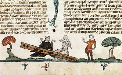 Punishment By Stocks, 14th Century Art Print by British Library