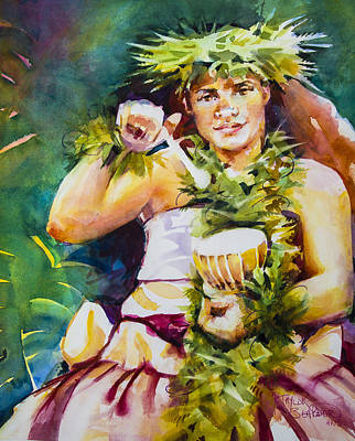 Hawaii Hula Dancer Painting - Puniu by Penny Taylor-Beardow