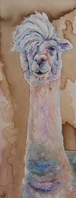 Art Print featuring the painting Punk Rock Alpaca by Christy  Freeman