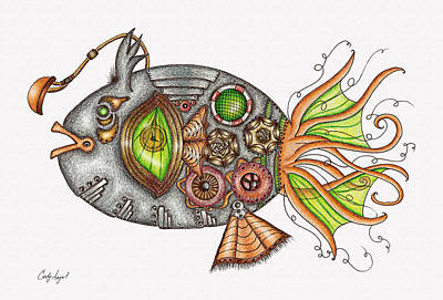 Steampunk Drawings - Punked Sea Creature by Cindy Angiel