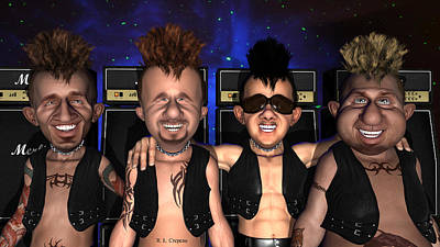 Digital Art - Punksters Group Shot by Robert Crepeau