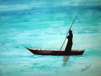 Painting - Punt Zanzibar Boat by June Holwell
