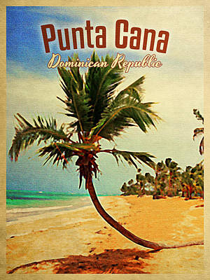 Travel Poster Digital Art - Punta Cana Dominican Republic by Flo Karp