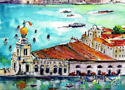 Venice Italy Ginette Painting - Punta Della Dogana Venice Italy by Ginette Callaway