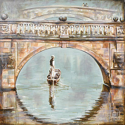 Punting On River Cam Under Clare Bridge Art Print by Leigh Banks