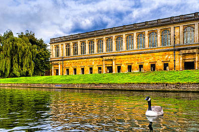 Photograph - Punting On The Cam - Wren Library At Trinity College by Mark E Tisdale