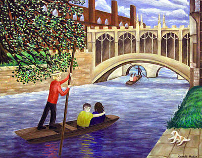 Cambridge University Painting - Punting Under The Bridge Of Sighs - Cambridge by Ronald Haber
