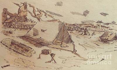 Ww Ii Drawing - Pup Tents 167th General Hospital Cherbourg France Ww II by David Neace