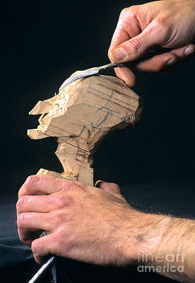 Puppet Photograph - Puppet Being Carved From Wood by Bernard Jaubert
