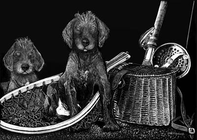 Puppy Mixed Media - Puppies Are Ready To Go Fish by Anderson R Moore