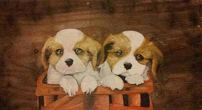 Puppies In A Basket Print by Terrence Lewis