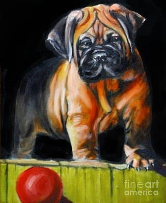 Painting - Puppy And Her Red Ball by Adele Pfenninger