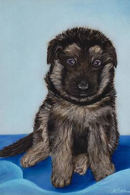 Juvenile Wall Decor Painting - Puppy - German Shepherd by Anastasiya Malakhova