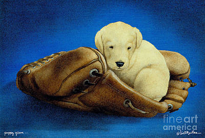 Baseball Painting - Puppy Glove... by Will Bullas