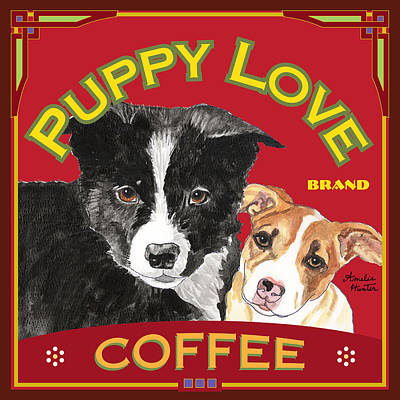Black Dog Painting - Puppy Love Coffee Border Collie by Amelia Hunter