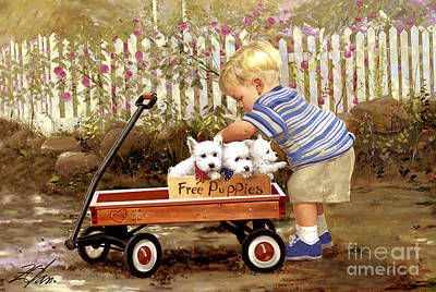 Puppy Love Art Print by Donald Zolan