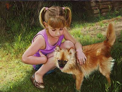 Art Print featuring the painting Puppy Love by Glenn Beasley