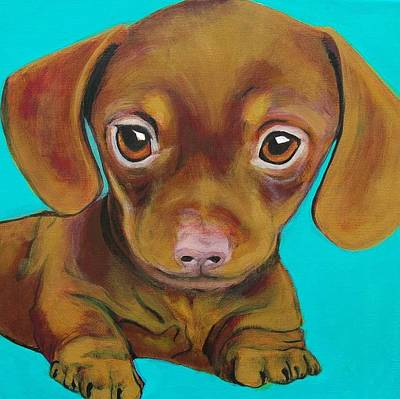 Weiner Dog Painting - Puppy Love by Lauren Hammack