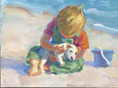 On His Holidays Painting - Puppy Love by Lucelle Raad