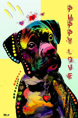 Dogs Digital Art - Puppy Love by Mark Ashkenazi