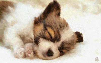 Sleeping Dog Digital Art - Puppy Nap by Gun Legler