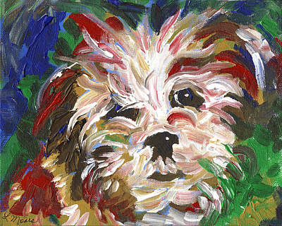 Dog And Toy Painting - Puppy Spirit 101 by Linda Mears