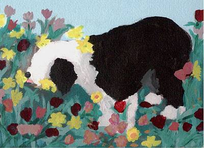 Mixed Media - Puppy Stops To Eat The Flowers by Cathy Howard