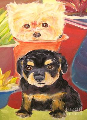 Rotty Painting - Pups And Pots by Rachel Carmichael