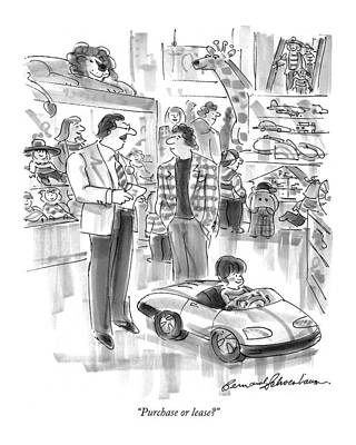 Toy Store Drawing - Purchase Or Lease? by Bernard Schoenbaum