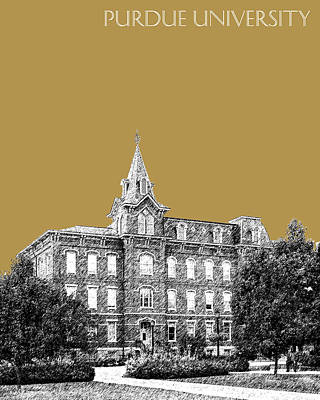 Dorm Room Decor Digital Art - Purdue University - University Hall - Brass by DB Artist