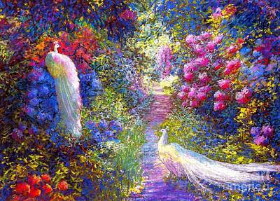 Pink Cards Painting -  White Peacocks, Pure Bliss by Jane Small