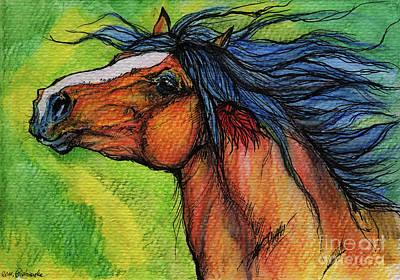 Rainbow Horses Drawing - Pure Joy by Angel  Tarantella