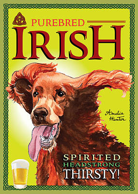 Funny Dog Digital Art - Purebred Irish Setter by Amelia Hunter