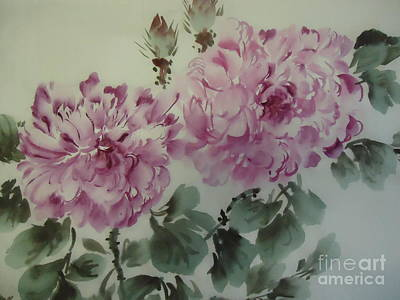 Art Print featuring the painting Purle Flower427012-10 by Dongling Sun