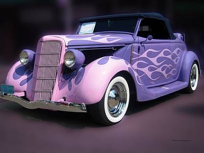 Pink Hot Rod Photograph - Purple 1935 Hot Rod Car by Thomas Woolworth