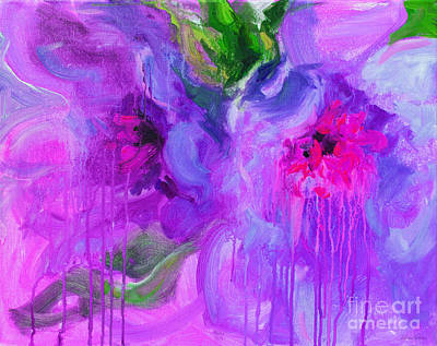 Colorful Abstract Painting - Purple Abstract Peonies Flowers Painting by Svetlana Novikova