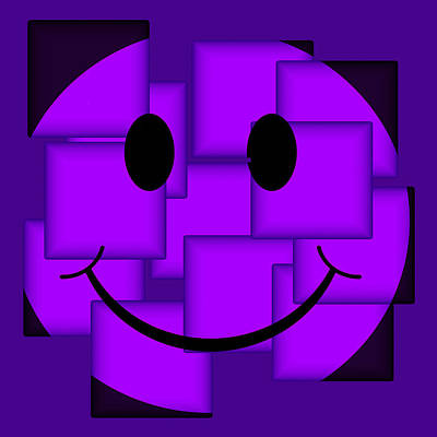 Royalty-Free and Rights-Managed Images - Purple Abstract Smiley Face by David G Paul