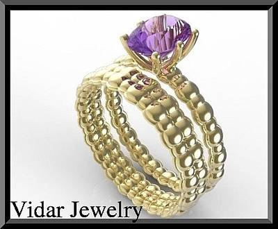 Jewelry - Purple Amethyst 14k Yellow Gold Wedding Ring And Engagement Ring Set by Roi Avidar