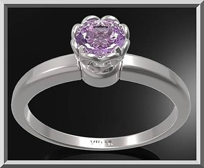 Floral Engagement Ring Jewelry - Purple Amethyst Sterling Silver Engagement Ring - Delicate Flower Ring by Roi Avidar