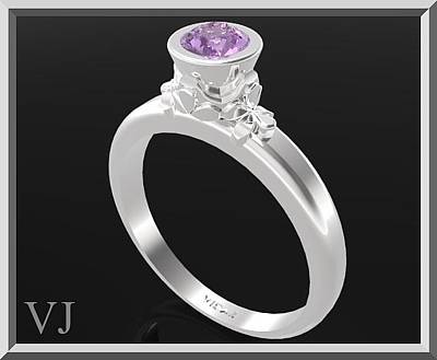 Gemstone Engagement Ring Jewelry - Purple Amethyst Sterling Silver Engagement Ring by Roi Avidar