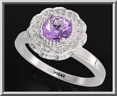 Custom Engagement Ring Jewelry - Purple Amethyst Sterling Silver Engagement Ring - Statement Flower Ring by Roi Avidar